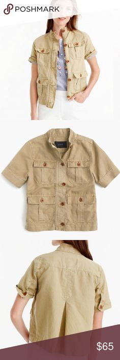 """J. Crew Khaki Safari Shirt Jacket Inspired by classic safari jackets, this cool layering piece is crafted in a substantial cotton-linen blend for a textured look and feel. You can wear this as a layering piece during cooler temps, or over dresses and jeans (or even on its own) when the weather warms up.It features four front button pockets, zipper and button closure and buttoned cuffs. 55% cotton, 45% linen. Length: 23.25"""" Bust: 23.5"""" Shoulder to Shoulder: 16.5"""" J. Crew Tops Blouses"""