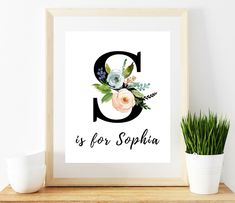 This item is unavailable Nursery Monogram, Nursery Letters, Nursery Name, Monogram Letters, Sophia Name, Button Art, Name Signs, Digital Prints, Floral Design