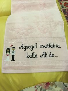 Mutfak havlusu Cross Stitch Baby, Bargello, Bed Pillows, Towel, Diy Crafts, Embroidery, Table Decorations, Canvas, Handmade