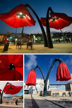 Giant red poppies that blooms when someone walks by, designed by HQ Architects for the Jerusalem's Vallero Square. The benches underneath are Metalco's Color Corten Style, designed Aurel Design Urbain. Street Furniture, Urban Furniture, Apartment Furniture, Furniture Design, Furniture Online, Unique Furniture, Walking By, Red Poppies, Sofa Design