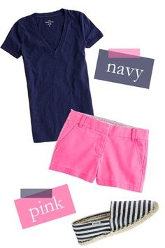 Moda: Pink and navy. Or how about the gray v-neck t-shirt and red cotton shorts with my gray canvas shoes. Wear capris instead of short to be modest. Short Outfits, Summer Outfits, Casual Outfits, Cute Outfits, Girl Outfits, Dress Summer, Fashion Moda, Look Fashion, Fashion Outfits