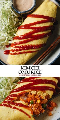Kimchi Omurice is some next-level comfort food: umami kimchi fried rice is wrapped cozily into a creamy scrambled egg omelet, topped with a drizzle of ketchup. @peteandgerrys #ad #BelieveInWhatYouBuy Healthy Asian Recipes, Asian Dinner Recipes, Indian Food Recipes, Vegan Recipes, Potluck Recipes, Asian Foods, Chinese Recipes, Most Popular Recipes, Favorite Recipes
