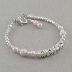 Baby Girl Gift Baby Name Bracelet Sterling by SixSistersBeadworks