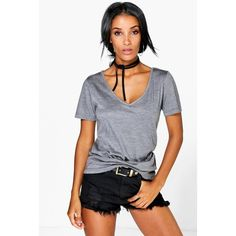 Boohoo Basics Ruby Supersoft V Neck Tee featuring polyvore, women's fashion, clothing, tops, t-shirts, charcoal, long sleeve t shirts, long sleeve crew neck tee, ribbed tee, long sleeve crop top and long sleeve v neck t shirts
