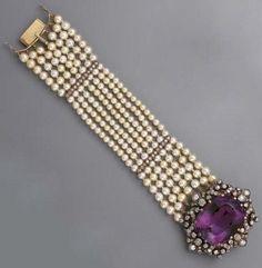 Amethyst, diamond, pearl and gold bracelet.