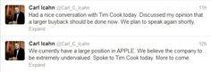 Dünyanın en ünlü yatırımcılarından biri olan Carl Icahn'ın #twitter hesabından yaptığı bir paylaşım, teknoloji devi #Apple'ın hisselerine tavan yaptırdı. Devamı ; http://haberapple.blogspot.com/2013/08/apple-bir-tweetle-17-milyar-dolar-kazand.html