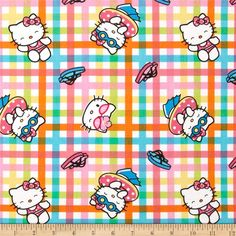 SALE 25% OFF Hello Kitty Goes to the Beach / Pool FABRIC Or Quilt - 100 Percent Quality Cotton (not thin) - $3.37 USD