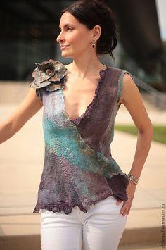 Купить Turkuaz Top- - summer top, silk top, туркуаз, бирюза, синий коричневый