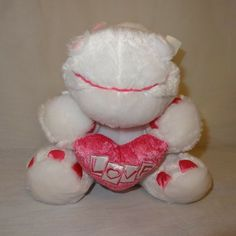 Valentines Day White Hippo Plush Stuffed Animal 9 inches Heart Love Pink 2009 #Unbranded