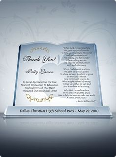 """A big """"Thank You"""" and round of applause for a job well done, the Crystal Book makes a unique teacher appreciation gift to express your heartfelt appreciation."""