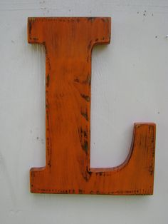 "wooden letter L wall hanging Distressed shabby chic initial painted Orange ,Wooden Alphabet Letters,12"" tall Wood Name Letters, by UncleJohnsCabin, $35.00 USD"