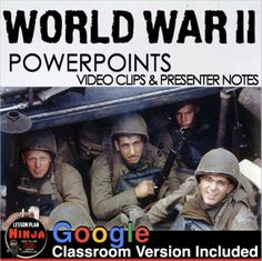 World War II PowerPoint with video clips and presenter notes is packed with maps, primary source documents, stunning visuals, and embedded video links, everything you need to keep your students engagedThis 25 slide PowerPoint / Google Slides is packed with beautiful graphics, engaging video clips an... History Lesson Plans, Social Studies Lesson Plans, World History Lessons, History Class, Teaching History, Source Documents, Battle Of Britain, World War Ii, Maps