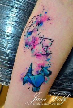 Origami dog tattooed by Javi Wolf - Mexico