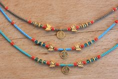 Authentic BlueTurquoise and Khaki Seed Bead Anklet Boho