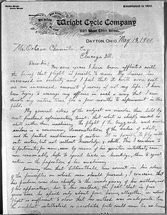 Letter, Wilbur Wright to Octave Chanute concerning the Wright brothers' aviation experiments, 13 May 1900. (Octave Chanute Papers)