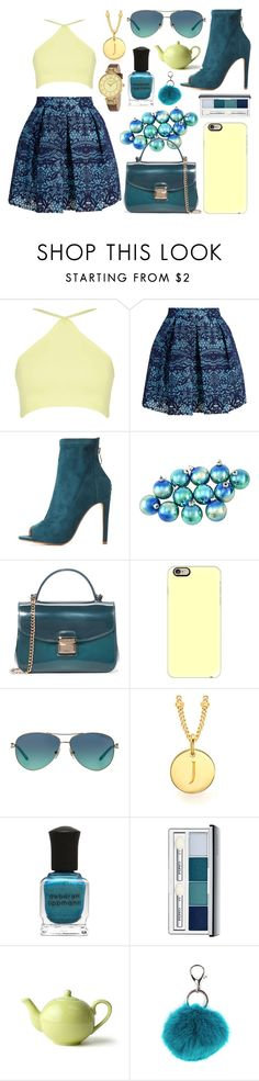 """""""Untitled #12"""" by pinkappleaddicted ❤ liked on Polyvore featuring Maje, Cape Robbin, Furla, Casetify, Tiffany & Co., Missoma, Deborah Lippmann, Clinique, Carole and Anne Klein"""