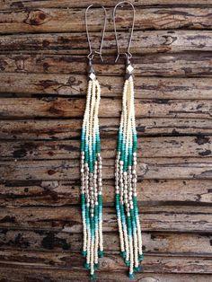 Beaded Earrings Shoulder Duster Earrings by WildHoneyPieDesign Seed Bead Jewelry, Seed Bead Earrings, Fringe Earrings, Beaded Jewelry, Handmade Jewelry, Beaded Necklace, Seed Beads, Stone Earrings, Hoop Earrings