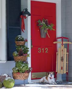 Love House Numbers on door, red door, light...would be perfect for my grey house and black shutters ;)