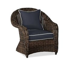 Torrey Roll-Arm Occasional Chair Cushion Slipcover, Sunbrella(R) Contrast Piped, Navy