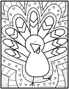 Coloring Club — From the Pond - Gartenkunst Turkey Coloring Pages, Thanksgiving Coloring Pages, Coloring For Kids, Colouring Pages, Coloring Books, Fall Coloring, Frozen Coloring, Doodle Coloring, Thanksgiving Projects