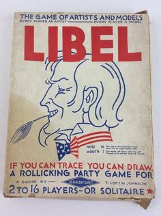 de510a98fa2 Vintage 1938 LIBEL Drawing Game of Artist and Models by Beachcraft Games   BeachcraftGames Family Game