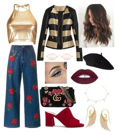 """Untitled #8"" by cjzj on Polyvore featuring Boohoo, Ashish, Maryam Nassir Zadeh, Gucci, L.A. Girl and Noor Fares"