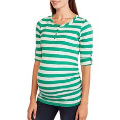 Planet Motherhood Maternity Roll Sleeve Striped Henley with Flattering Side Ruching, Size: Small, White