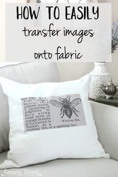 How To Easily Transfer Images Onto Fabric - Mod podge - How to easily transfer images onto fabric- canarystreetcraft…. Make these easy DIY throw pillows - Diy Throws, Diy Throw Pillows, How To Make Pillows, Couch Pillows, Fun Crafts, Diy And Crafts, Arts And Crafts, Crafts To Make And Sell Unique, Diy Gifts To Sell