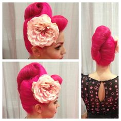 Pink beehive up-do