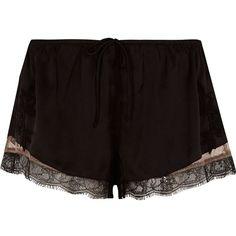 River Island Black satin floral lace hem pajama shorts ($32) ❤ liked on Polyvore featuring intimates, sleepwear, pajamas, shorts, bottoms, black, pyjamas & loungewear, sleepwear / slippers, women and lace pajamas