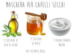 La mia maschera fai da te preferita per capelli secchi. Tre soli ingredienti: olio di oliva, miele e yogurt bianco.