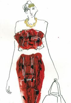 Helen Bullock – Freelance Textiles Designer and Clothing Illustrator Interesting elements: use of implied line work in the figure, blocked in shapes of the dress while using the pen to illustrate the texture and pattern of gament. Implied Line, Love Couture, Watercolor Sketch, I Love Fashion, Textile Design, Fashion Prints, Illustrators, Sketches, Textiles