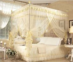 Romantic-4-Corner-Post-Bed-Canopy-Mosquito-Full-Queen-Sizes-Netting