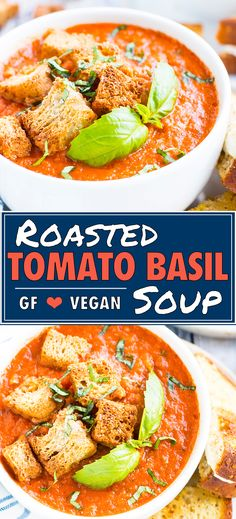 Oven-Roasted Tomato Basil Soup is a quick, easy, and simple soup recipe that is also a great idea to use up a lot of fre Basil Soup Recipe, Creamy Soup Recipes, Basil Recipes, Tomato Soup Recipes, Vegan Recipes, Healthy Dinner Recipes, Gluten Free Dairy Free Vegetarian Recipes, Simple Soup Recipes, Dairy Free Dinners
