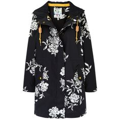 Joules Right as Rain Raina Waterproof Parka, Black Floral ($200) ❤ liked on Polyvore featuring outerwear, coats, black parka coat, black hooded coat, water resistant coat, hooded parka and long waterproof coat