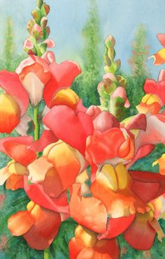 "Contemporary Painting - ""Snapdragons"" (Original Art from Marcy Lansman)"