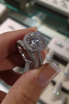 """Harry Winston Inspired """"The ONE"""" Micro Pave halo and band with a 3ct + center diamond www.diamonddirectbuy.com"""