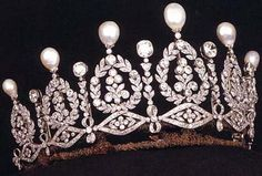 This major pearl and diamond tiara was once owned by Empress Eugénie de Montijo, wife of Napoleon III.