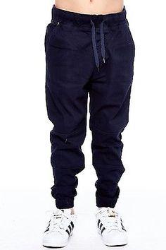 Boys Kids Pull On Loose Fit Twill Biker Pocket Jogger Pants