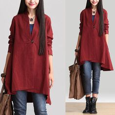 Loose Fitting Linen Jacket Coat Outwear for Women  -Long Sleeved Women Clothing