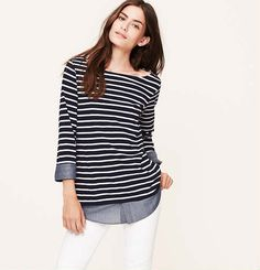 Two-In-One Stripe Chambray Softened Shirt - Loft (have in white, probably need in navy too!)