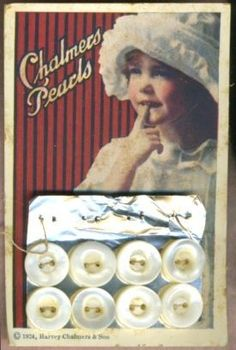 "(::) vintage ""Chalmers Pearls"" button card (c) 1924, Harvey Chalmers & Son from N.Y.,  Also distributed from Iowa button companies.  {Research & original description by DiaNNe - ""Vintage Button Cards (::)"""