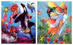 Lady Mermaid, Orca Whale Underwater and Butterfly, Fairy Fantasy Kids Room Two Set Picture Wall Decor Art Print Posters Vintage Butterfly, Butterfly Fairy, Wall Art Decor, Wall Art Prints, Poster Wall, Print Poster, Vintage Fairies, Fantasy Setting, Fairy Art
