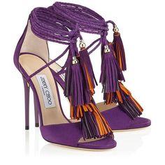 7823b7f2780b Jimmy Choo Mindy 110 Boho Purple Mix Suede  Sandals with Suede Tassels   women