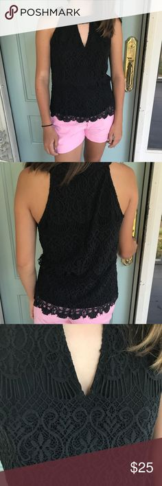 Adorable Black Key Hole Tank Great condition! Black tank with lace overlay. Zips up the back. Key hole in front. Adorable with any colored bottoms! Perfect for summer or for layering in the fall. Make me an offer:) Pinky Tops Blouses