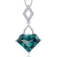 Amazon.com: Superman Cut 9.00 carats Sterling Silver Rhodium Finish created Alexandrite Pendant: Peora: Jewelry