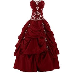 Sunvary Ball Gown Strapless Appliqued Ruffle Long Prom Gowns... ($40) ❤ liked on Polyvore featuring dresses, gowns, women dresses, quinceanera dresses, quinceanera gowns, long evening dresses and evening gowns