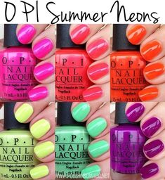 OPI Summer Neons via Andersen Andersen Wilson insomniac Neon Nail Polish, Neon Nails, Opi Nails, Summer Nail Polish, Opi Polish, Funky Nails, Cute Nails, Pretty Nails, Bright Pink Nails