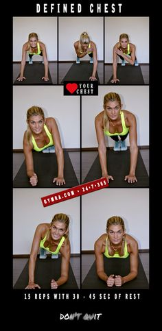 Try these moves for a well defined chest! Do 15 reps with 30-45 seconds of break in between. Do this for 60 days, 3 times a week to see real results!