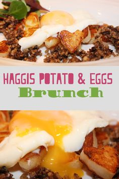 Haggis potato and eggs brunch.  Delicious runny egg with haggis and heart shaped potatoes.